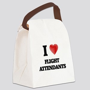 I love Flight Attendants (Heart m Canvas Lunch Bag