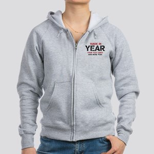 Birthday Made In Your Text Distressed Zip Hoodie