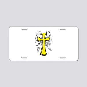 Winged Cross Aluminum License Plate