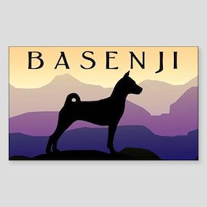 Basenji Purple Mountains Rectangle Sticker