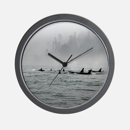 Passing Whales Wall Clock