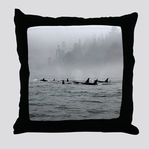 Passing Whales Throw Pillow