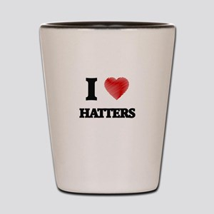 I love Hatters (Heart made from words) Shot Glass
