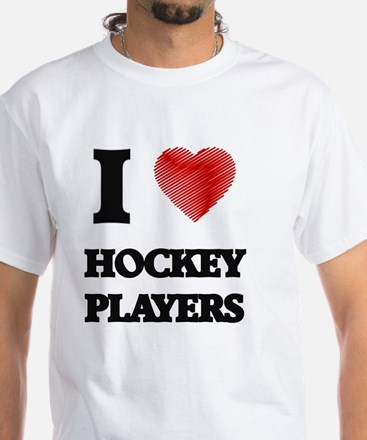 I love Hockey Players (Heart made from wor T-Shirt