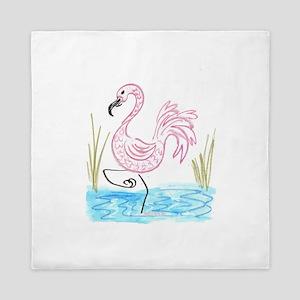 EelKat's Pink Flamingo #13 Queen Duvet