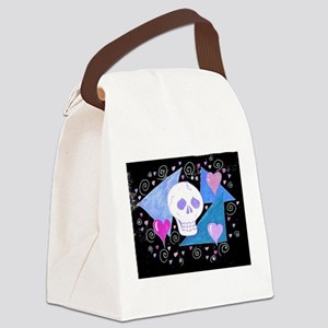 EelKat's Gothic Skull with Hearts Canvas Lunch Bag