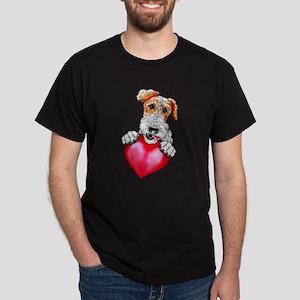 Wire Fox Terrier Holding Heart Dark T-Shirt