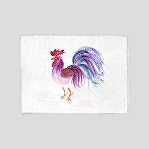 EelKat's Purple Pastel Rooster 5'x7'Area Rug