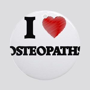 I love Osteopaths (Heart made from Round Ornament