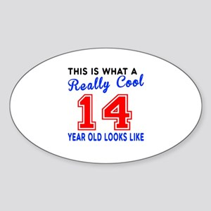 Really Cool 14 Birthday Designs Sticker (Oval)