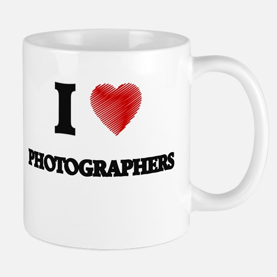 I love Photographers (Heart made from words) Mugs