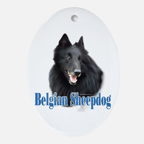 BelgianSheepName Oval Ornament