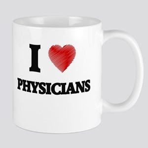 I love Physicians (Heart made from words) Mugs
