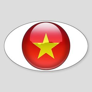Vietnam Flag Jewel Oval Sticker