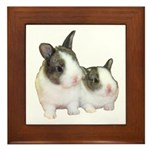 Baby dutch bunnies Framed Tile