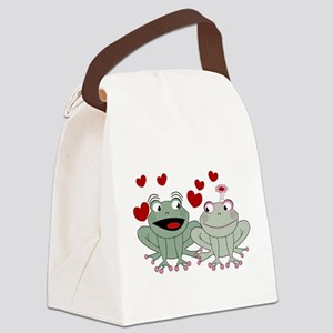 Frog couple love Canvas Lunch Bag