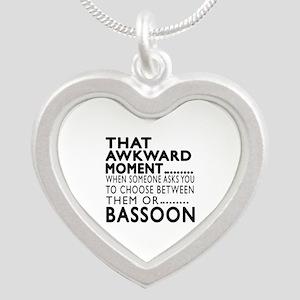Bassoon Awkward Moment Desig Silver Heart Necklace