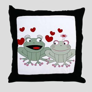 Frog couple love Throw Pillow