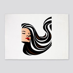 Retro Girl Face Lady 5'x7'Area Rug