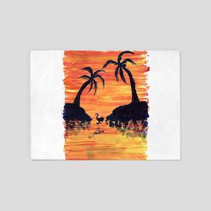 EelKat's Flamingo Sunset 5'x7'Area Rug