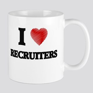 I love Recruiters (Heart made from words) Mugs