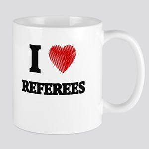 I love Referees (Heart made from words) Mugs