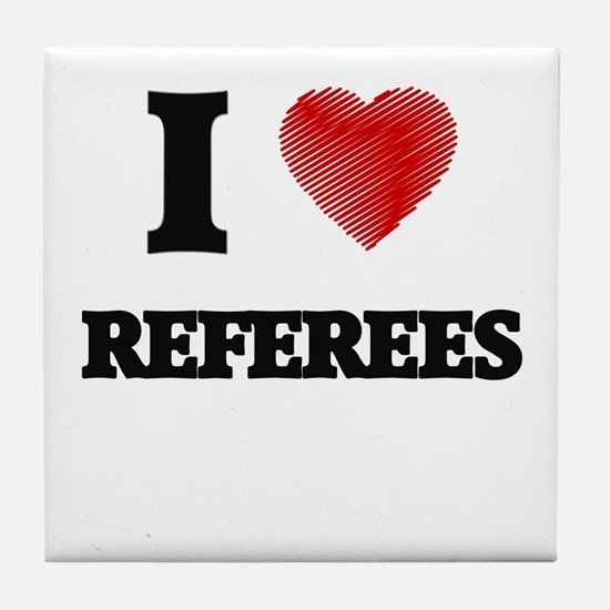 I love Referees (Heart made from word Tile Coaster