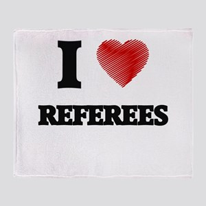 I love Referees (Heart made from wor Throw Blanket