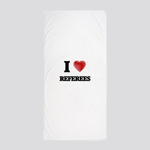 I love Referees (Heart made from words Beach Towel