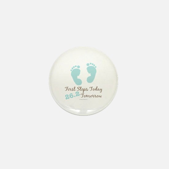 Blue Baby Footprints 26.2 Marathon Mini Button