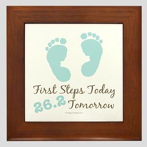 Blue Baby Footprints 26.2 Marathon Framed Tile