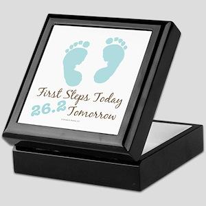 Blue Baby Footprints 26.2 Marathon Keepsake Box