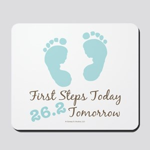 Blue Baby Footprints 26.2 Marathon Mousepad