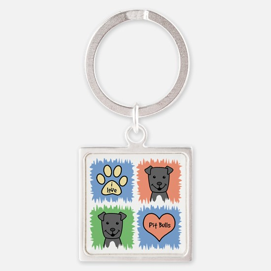 Funny Pit bull mom Square Keychain