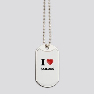 I love Sailors (Heart made from words) Dog Tags