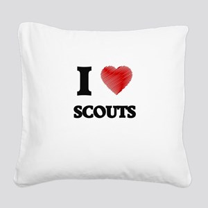 I love Scouts (Heart made fro Square Canvas Pillow