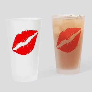 Red Lips Kiss Drinking Glass