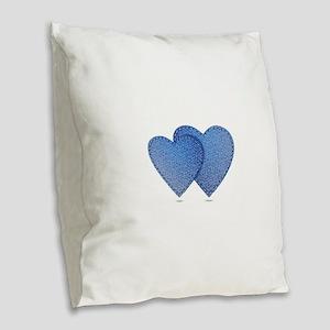 Blue Jeans love Burlap Throw Pillow
