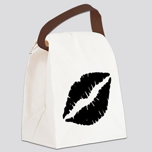 Black Lips Kiss Canvas Lunch Bag