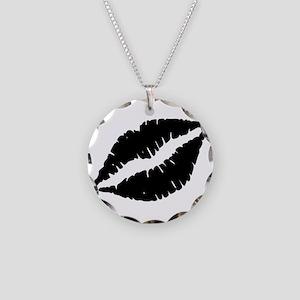 Black Lips Kiss Necklace Circle Charm