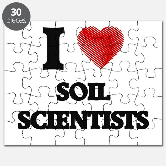 I love Soil Scientists (Heart made from wor Puzzle