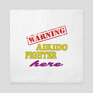 Warning Aikido Fighter Here Queen Duvet
