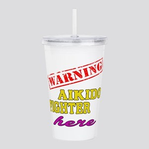 Warning Aikido Fighter Acrylic Double-wall Tumbler