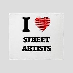 I love Street Artists (Heart made fr Throw Blanket