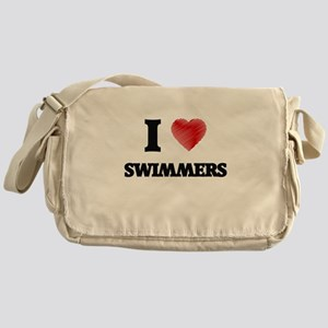 I love Swimmers (Heart made from wor Messenger Bag