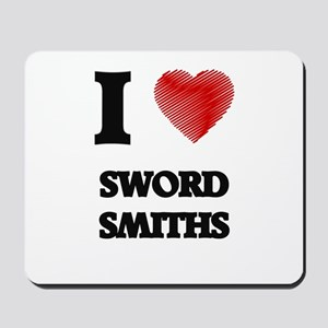 I love Sword Smiths (Heart made from wor Mousepad