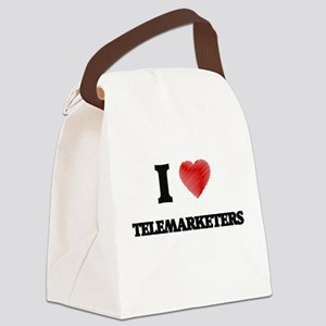 I love Telemarketers (Heart made Canvas Lunch Bag