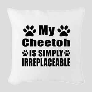 My Cheetoh cat is simply irrep Woven Throw Pillow