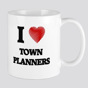 I love Town Planners (Heart made from words) Mugs