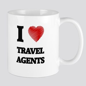 I love Travel Agents (Heart made from words) Mugs